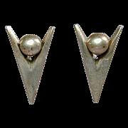 Signed Modernist Sterling Silver Earrings JANIYE