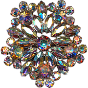 Big WEISS Vintage Rhinestone Pin Brooch Aurora Borealis Crystal