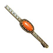 Victorian Red Coral Bar Pin - 800 Silver & 14K Gold Antique