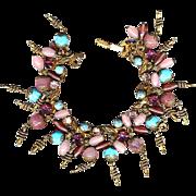 Great Old Art Glass & Rhinestone Charm Bracelet