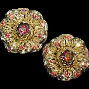 Vintage Sarah Cov Big Bold Red Rhinestone Earrings