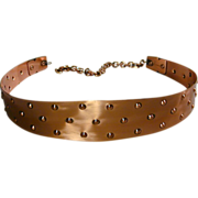 Modernist Signed RENOIR Solid Copper Belt