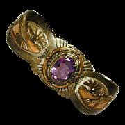 Signed Navajo Cuff Bracelet Wes Craig Sterling 12K/GF Amethyst