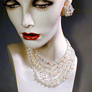 Dazzling 4-Strand Crystal Bead Necklace / Earrings Set