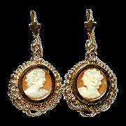 Estate 14K Gold Carved Cameo Shell Dangle Earrings