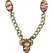 Victorian Italian Foil Glass Bead Chatelaine Clips Red & Gold Beads