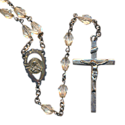 Old Sterling Silver & Crystal Bead Rosary