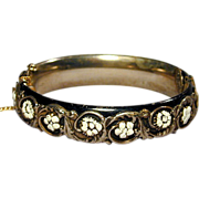 Vintage SANDOR Hinged Bangle Bracelet Raised Floral