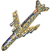 Vintage Signed PELL Airplane Rhinestone Pin