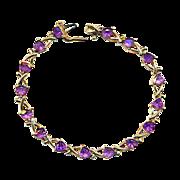 Vintage 10K Gold w/ Amethyst Link Bracelet - February Birthstone