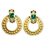 Vintage GIVENCHY Door Knocker Earrings w/ Rhinestones