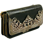 English Victorian Leather & Sterling Silver Purse Wallet