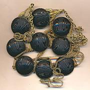 Antique Victorian Art Nouveau Belt w/ Unusual Button Cabs