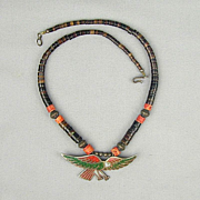 Native American EAGLE Chip Inlay Sterling Silver Necklace