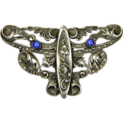 Art Nouveau Silvered Pin Brooch Signed C&R - Ornate Design