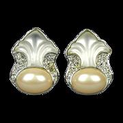 Yves Saint Laurent YSL Earrings Rhinestone Poured Glass Faux Pearl