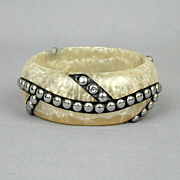 Pearlized Lucite Bangle Bracelet w/ Sterling Silver Studs