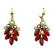 Vintage Red & AB Rhinestone Earrings w/ Faux Pearls