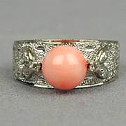 Vintage 14K White Gold Angel Skin Coral Ring w/ Diamonds