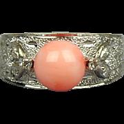 Vintage 14K White Gold Angel Skin Coral Ring w/ Diamonds