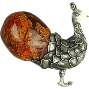 Old Sterling Silver Peacock Pin Brooch w/ Huge Amber Tail