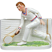 Vintage 1960s Ceramic Male Tennis Player Flower Pot Planter INARCO