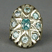 Big Sterling Silver Cocktail Ring w/ Aqua Blue Stones