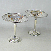 Pair Sterling Silver Pedestal Compote Dessert Serving Dishes