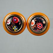 Vintage Bakelite Butterscotch Earrings w/ Murano Glass Inlay