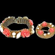 Vintage Faux Coral White Milk Glass Bracelet & Pin Set