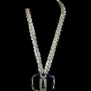 Modernist LANVIN PARIS Lucite Chromed Metal Pendant Necklace