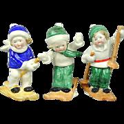 Set of Vintage Porcelain Skiing Children Hand-Painted