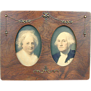 SOLD Victorian c1889 George Martha Washington Framed Picture - Old Frame