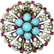 1946 Alfred Philippe Crown Trifari Sterling Silver Clip Pin Rhinestones