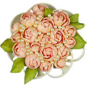 Vintage Pin of Rose Buds Made of Shells - Amazing