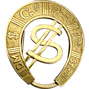 Vintage Rolled Gold Horseshoe Money Clip Dollar Sign