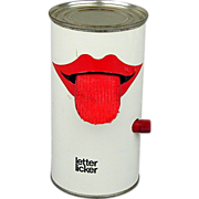 1970s ~ Letter Licker ~ Pop Art Tin Can Desk Top Aide