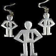 1980s Aluminum Outline Men Pin & Earrings Set Pop Art