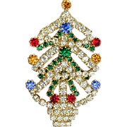 Sparkly Vintage Austrian Crystal Christmas Tree Pin