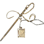 Antique Victorian Sterling Silver Sword Pin Jabot w/ Locket
