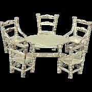 Old Dutch Silver Miniature Table & Chairs Set Hendrik Hooykaas