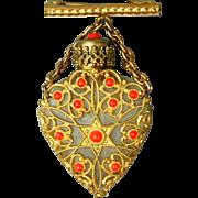 Vintage Miniature Perfume Bottle Brooch Pin Glass & Filigree