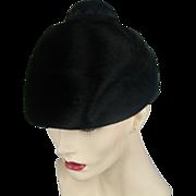 Vintage Black Faux Fur Cloche Hat 1950's Mr. Rickie Original