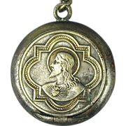 Old Miniature Rosary Locket Case w/ Rosary Germany c1920s