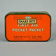 Vintage Snake Bite First Aid Pocket Packet c1920s Litho Tin