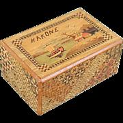 Vintage HAKONE Japanese Puzzle Box Inlaid Wood Scotty Dogs