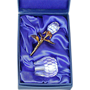 Vintage Crystal Carved ROSE Pin w/ Crystal Mini Vase Set