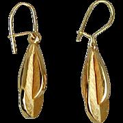 Modernist 10K Gold Dangle Earrings - Great Design