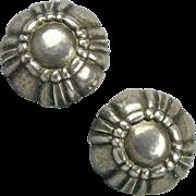 Modernist Georg Jensen Sterling Silver Denmark Earrings Screwback