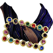 Big Vintage Buckle - Scarf Holder w/ Big Colored Rhinestones